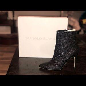 Manolo Blahnik Insopo 105mm Shimmer Fabric Booties